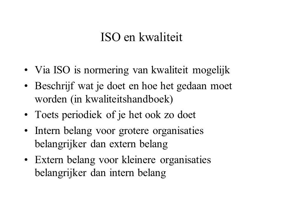 ISO en kwaliteit Via ISO is normering van kwaliteit mogelijk