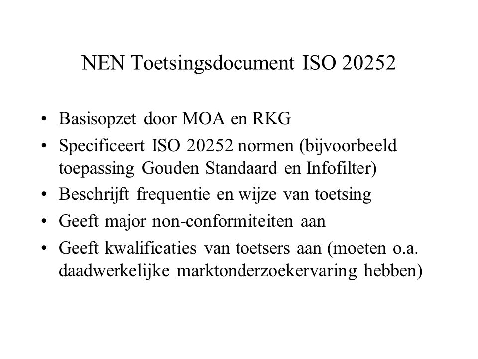 NEN Toetsingsdocument ISO 20252