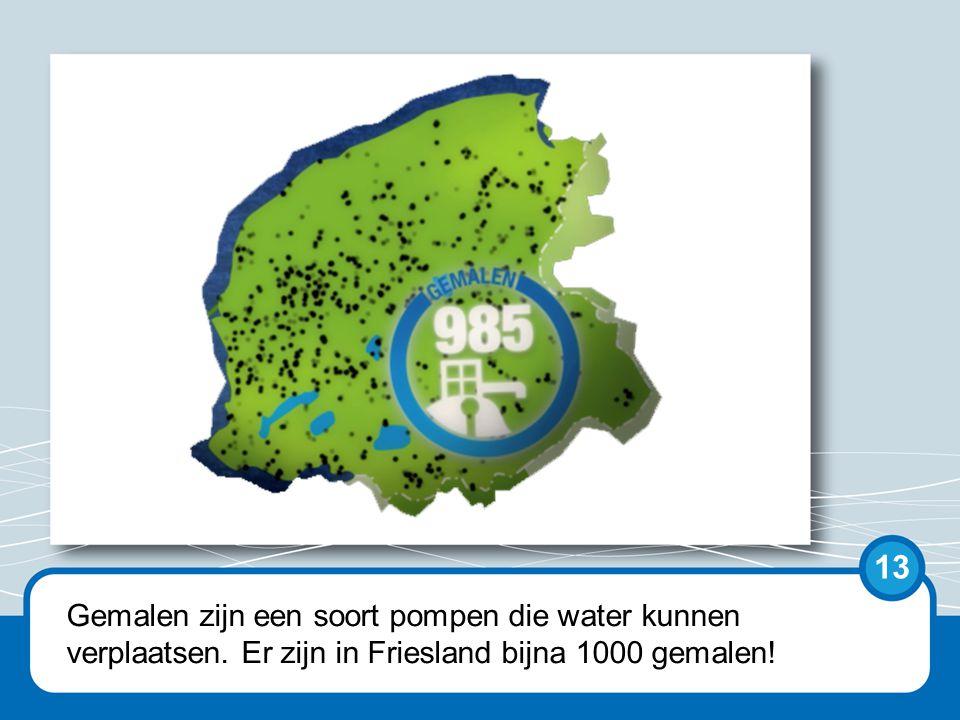Op de kaart is goed te zien hoeveel kleine gemalen er alleen al in Friesland zijn.