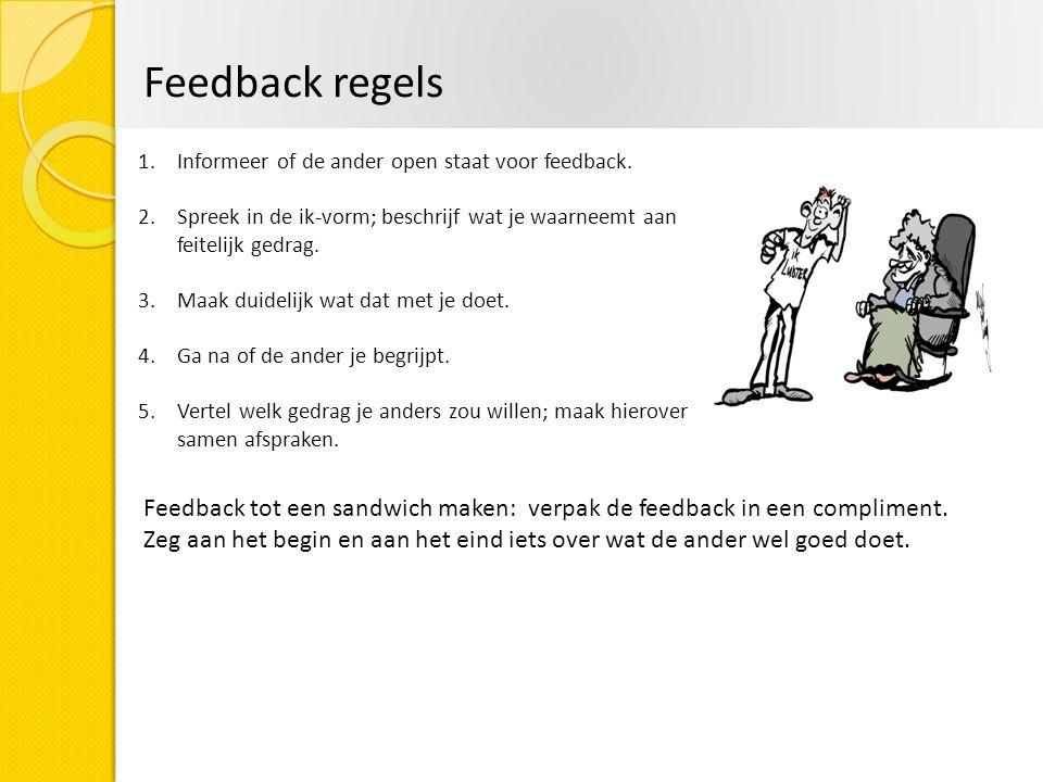 Feedback regels Informeer of de ander open staat voor feedback. Spreek in de ik-vorm; beschrijf wat je waarneemt aan feitelijk gedrag.