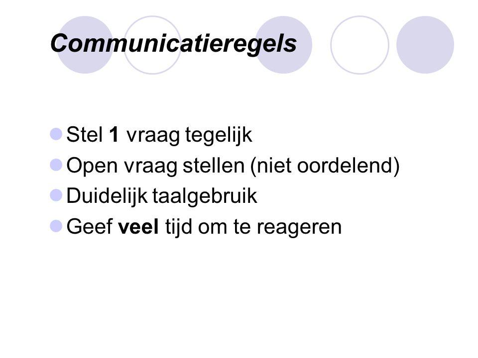 Communicatieregels Stel 1 vraag tegelijk