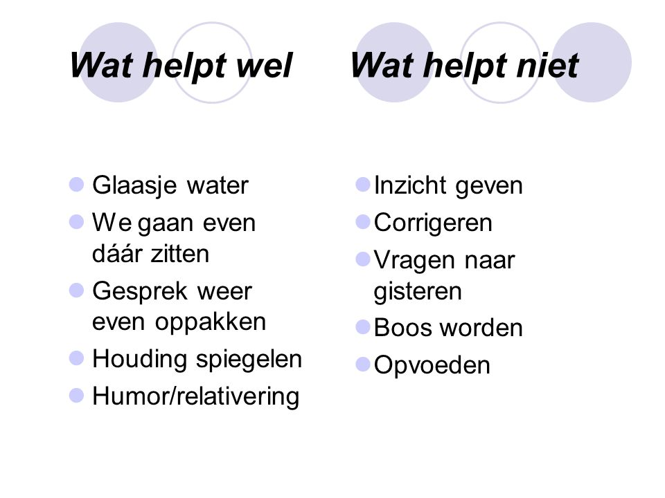 Wat helpt wel Wat helpt niet