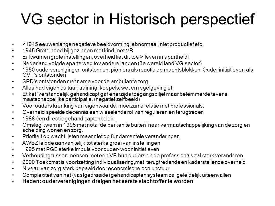 VG sector in Historisch perspectief