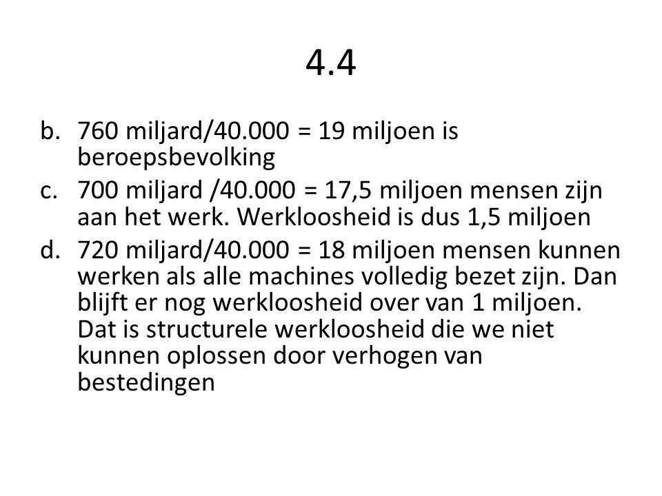 4.4 760 miljard/40.000 = 19 miljoen is beroepsbevolking