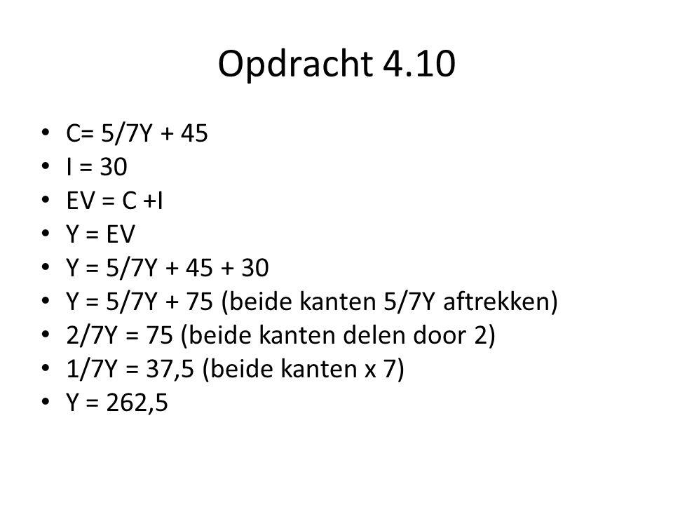 Opdracht 4.10 C= 5/7Y + 45 I = 30 EV = C +I Y = EV Y = 5/7Y + 45 + 30