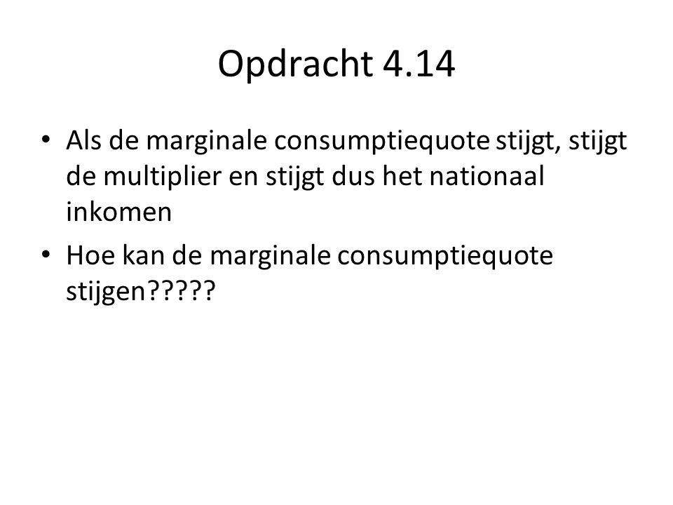 Opdracht 4.14 Als de marginale consumptiequote stijgt, stijgt de multiplier en stijgt dus het nationaal inkomen.
