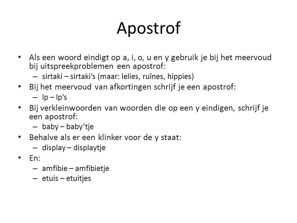 Apostrof Als een woord eindigt op a, i, o, u en y gebruik je bij het meervoud bij uitspreekproblemen een apostrof: