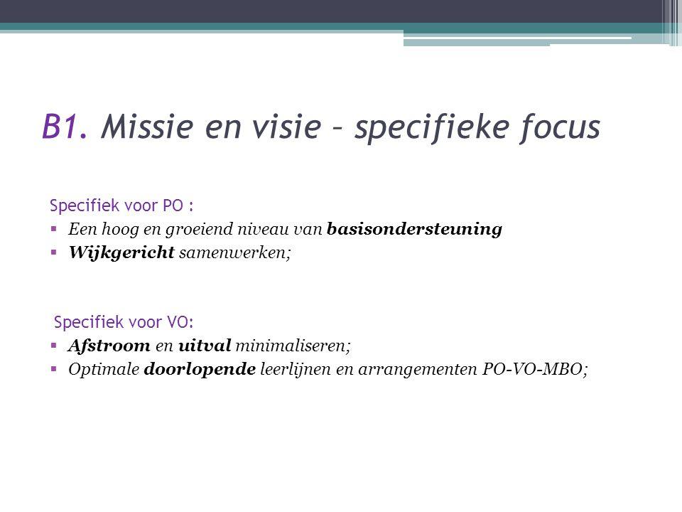 B1. Missie en visie – specifieke focus