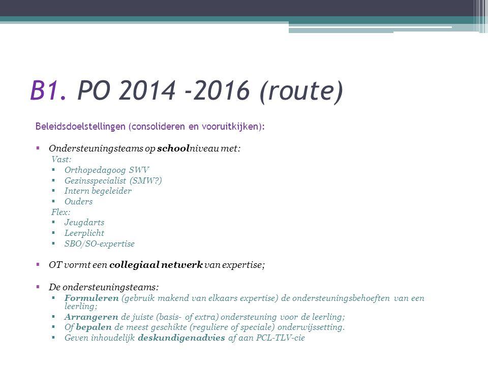 B1. PO 2014 -2016 (route) Beleidsdoelstellingen (consolideren en vooruitkijken): Ondersteuningsteams op schoolniveau met: