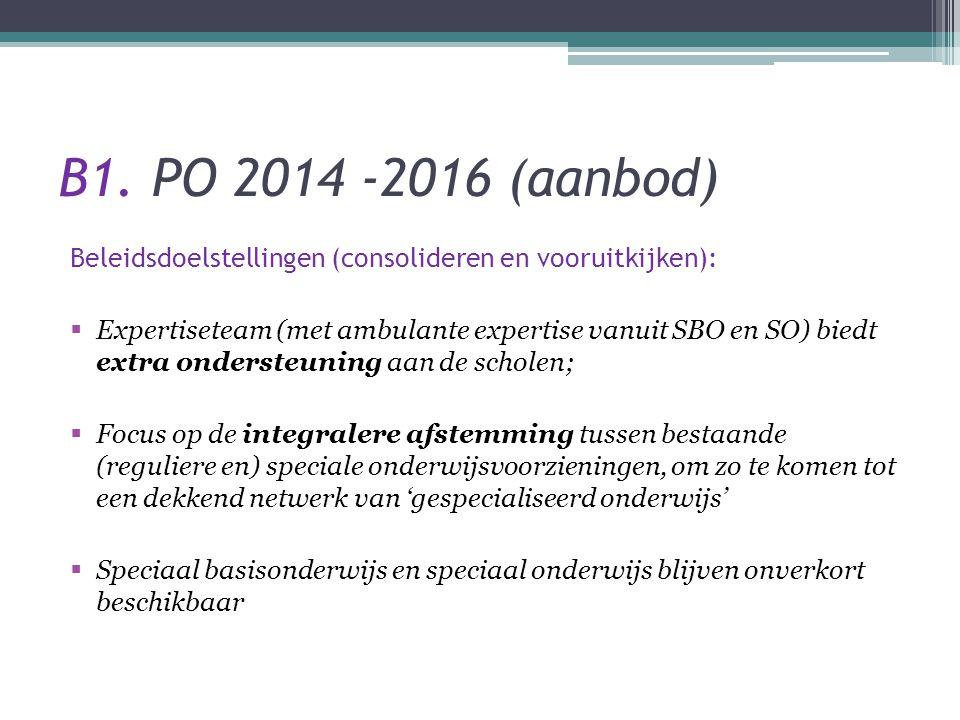 B1. PO 2014 -2016 (aanbod) Beleidsdoelstellingen (consolideren en vooruitkijken):
