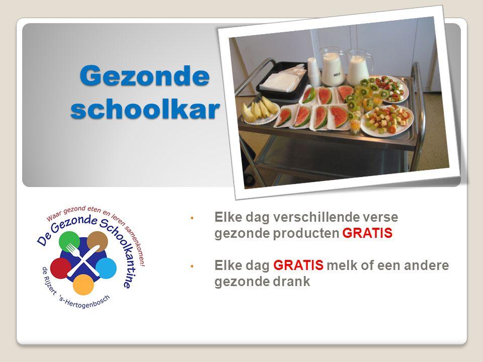Gezonde schoolkar Elke dag verschillende verse gezonde producten GRATIS.