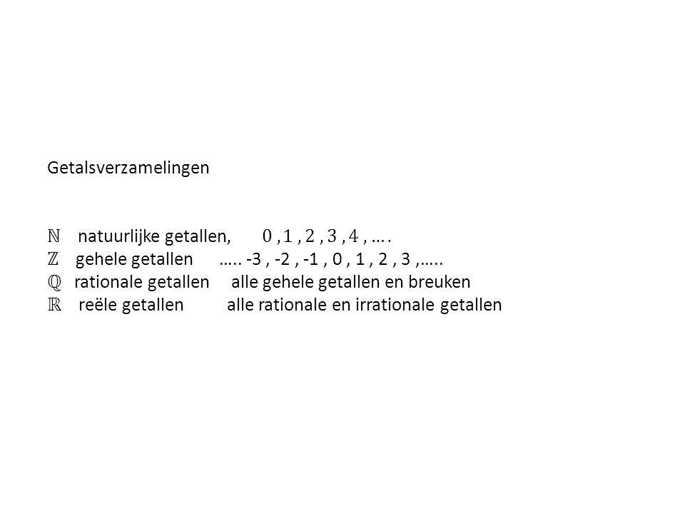 Getalsverzamelingen ℕ natuurlijke getallen, 0 , 1 , 2 ,3 ,4 ,…. ℤ gehele getallen ….. -3 , -2 , -1 , 0 , 1 , 2 , 3 ,…..
