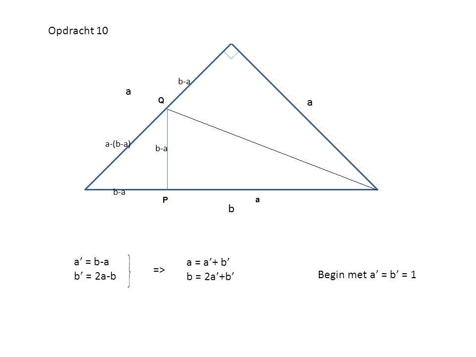 Opdracht 10 a' = b-a b' = 2a-b a = a'+ b' b = 2a'+b' => Begin met a' = b' = 1