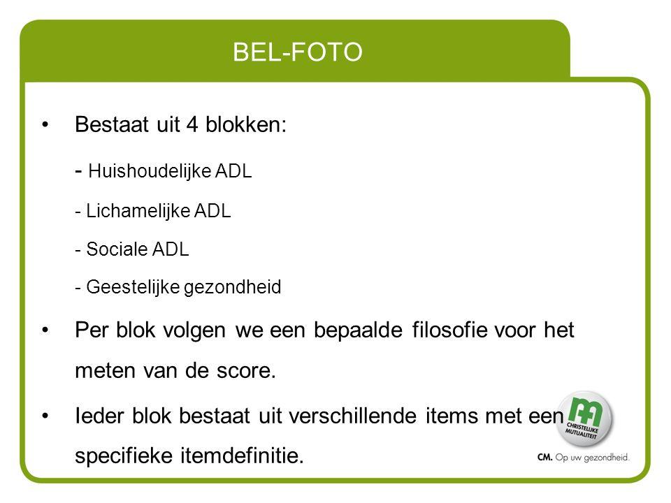 BEL-FOTO Bestaat uit 4 blokken: - Huishoudelijke ADL