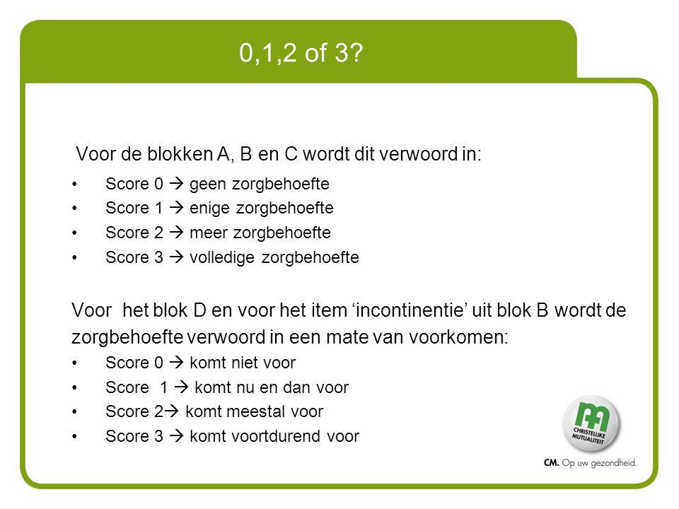 0,1,2 of 3 Voor de blokken A, B en C wordt dit verwoord in: Score 0  geen zorgbehoefte. Score 1  enige zorgbehoefte.