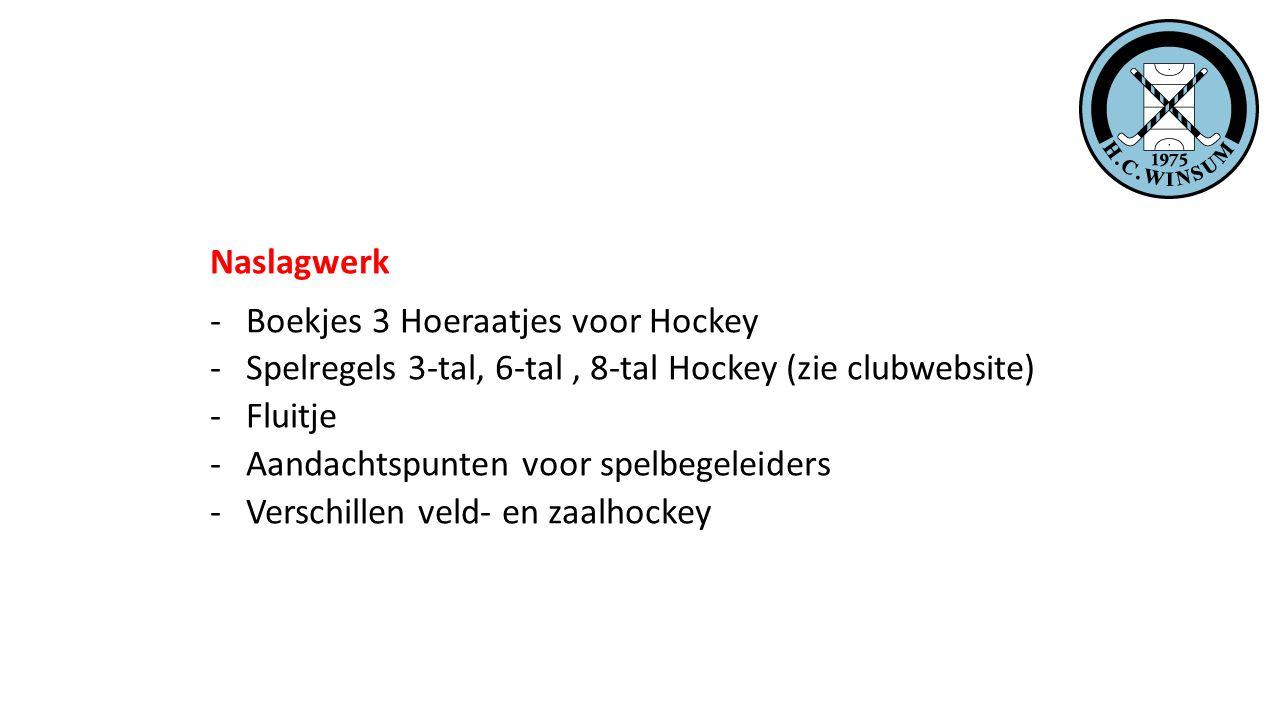 Naslagwerk Boekjes 3 Hoeraatjes voor Hockey. Spelregels 3-tal, 6-tal , 8-tal Hockey (zie clubwebsite)