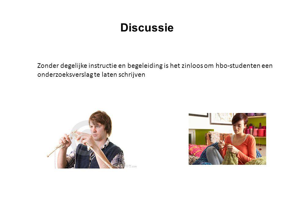 Discussie Zonder degelijke instructie en begeleiding is het zinloos om hbo-studenten een onderzoeksverslag te laten schrijven.