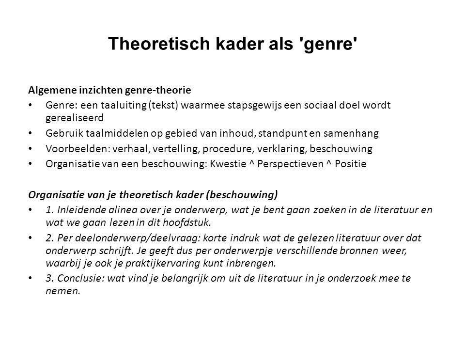 Theoretisch kader als genre