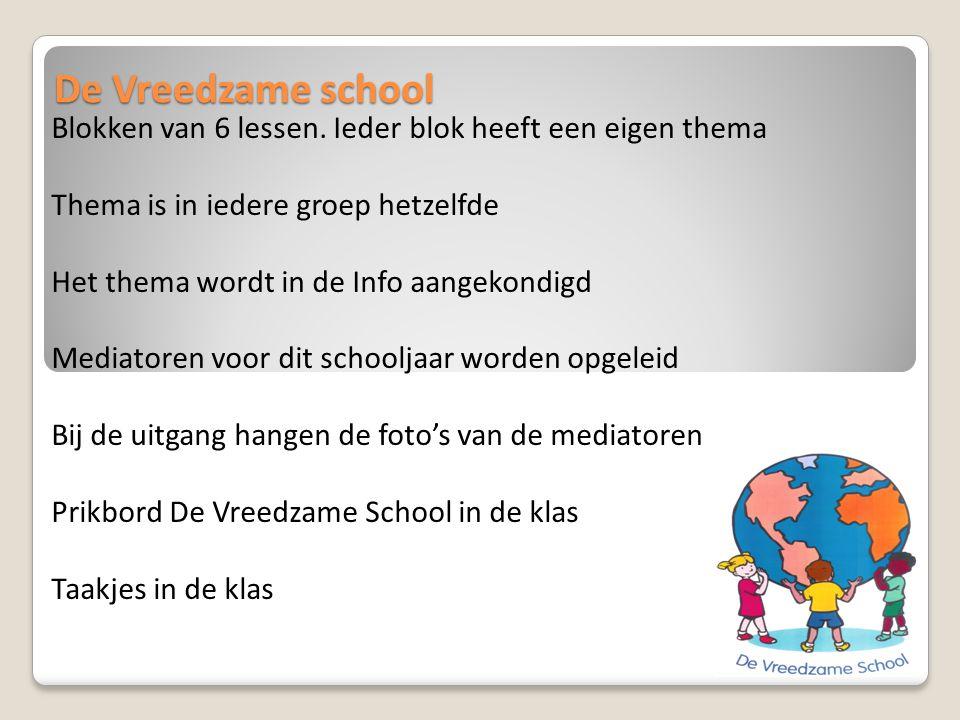 De Vreedzame school Blokken van 6 lessen. Ieder blok heeft een eigen thema. Thema is in iedere groep hetzelfde.