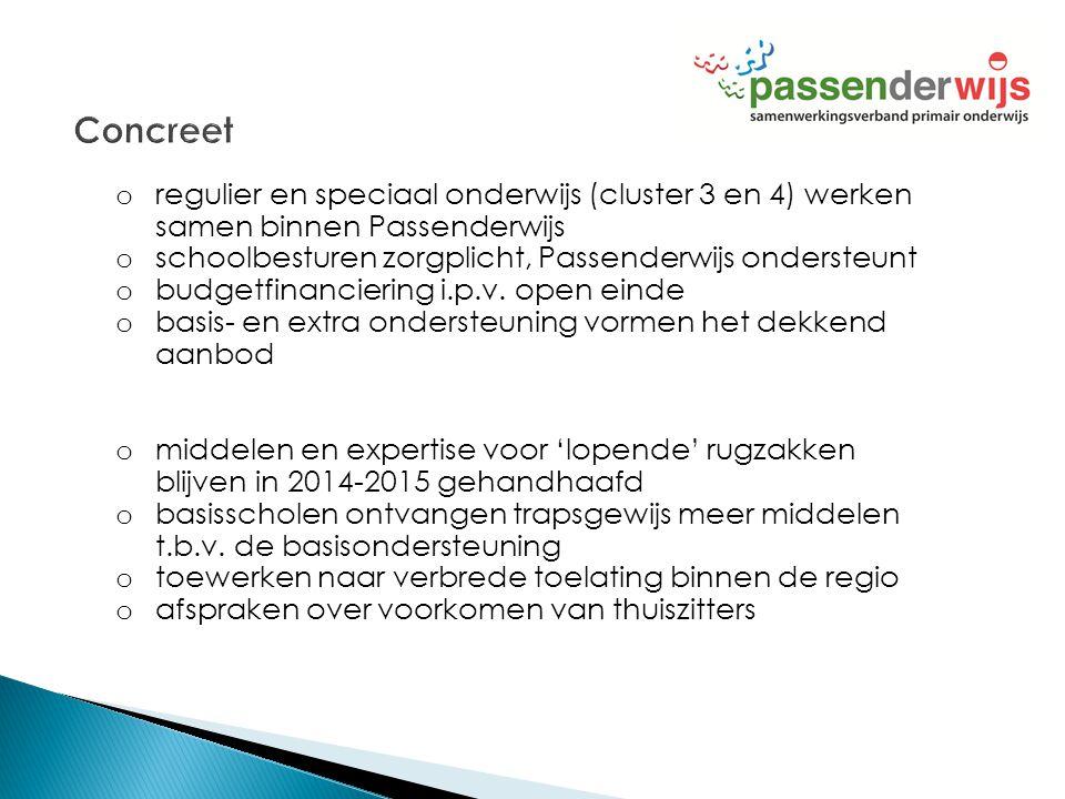 Concreet regulier en speciaal onderwijs (cluster 3 en 4) werken samen binnen Passenderwijs. schoolbesturen zorgplicht, Passenderwijs ondersteunt.