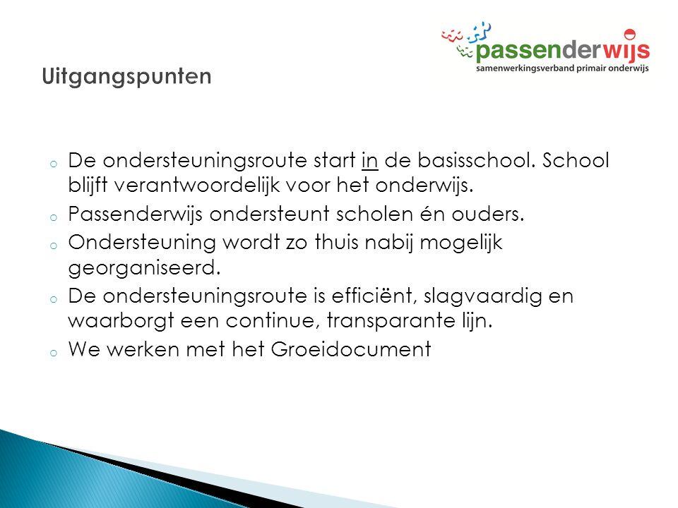 Uitgangspunten De ondersteuningsroute start in de basisschool. School blijft verantwoordelijk voor het onderwijs.