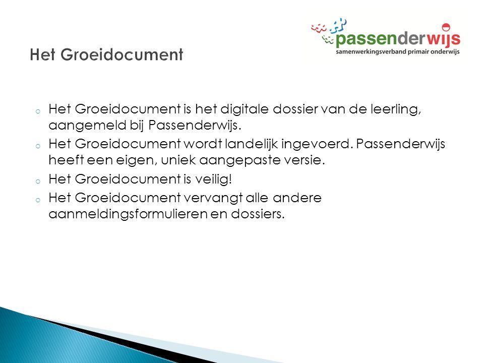 Het Groeidocument Het Groeidocument is het digitale dossier van de leerling, aangemeld bij Passenderwijs.