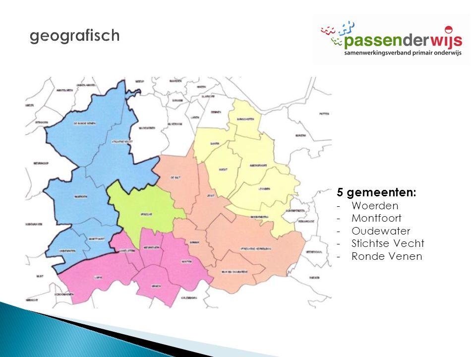 geografisch 5 gemeenten: Woerden Montfoort Oudewater Stichtse Vecht