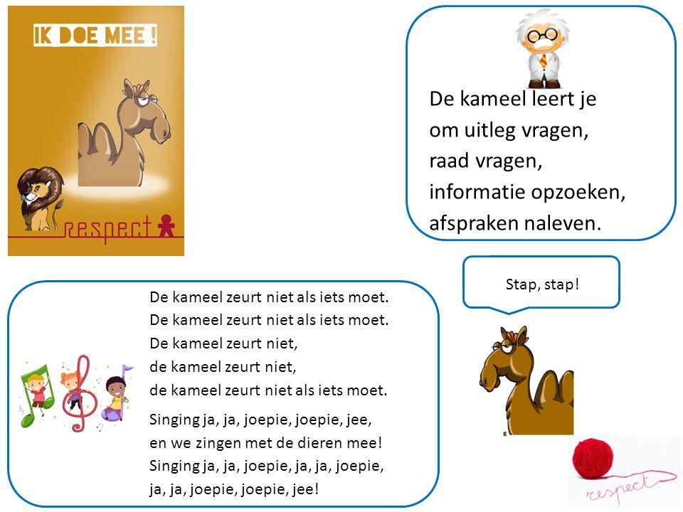 De kameel leert je om uitleg vragen, raad vragen, informatie opzoeken, afspraken naleven.