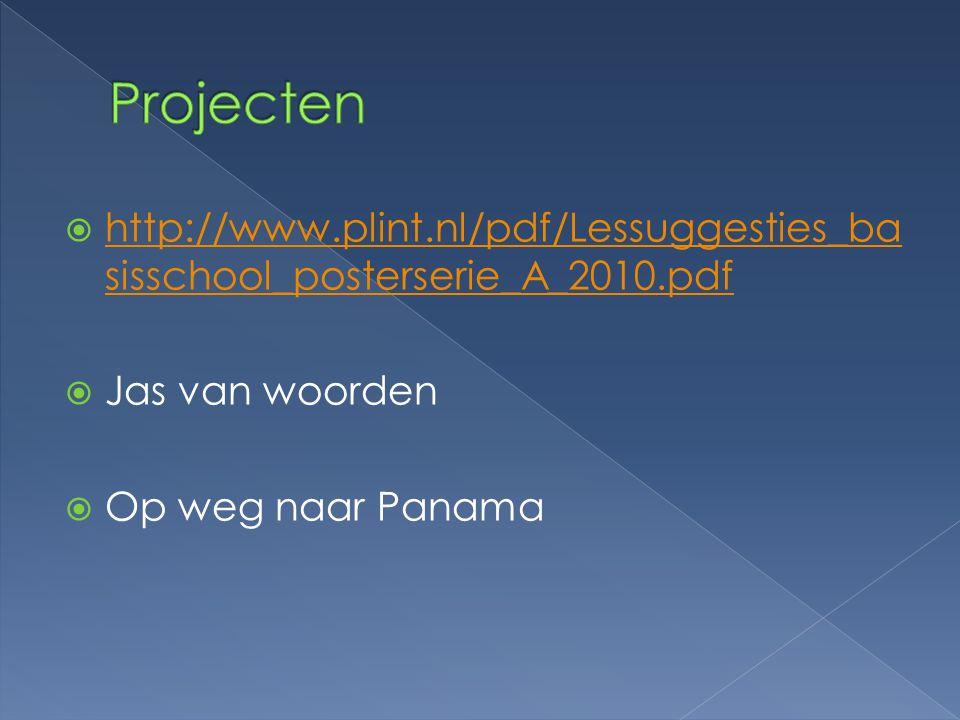 Projecten http://www.plint.nl/pdf/Lessuggesties_basisschool_posterserie_A_2010.pdf. Jas van woorden.