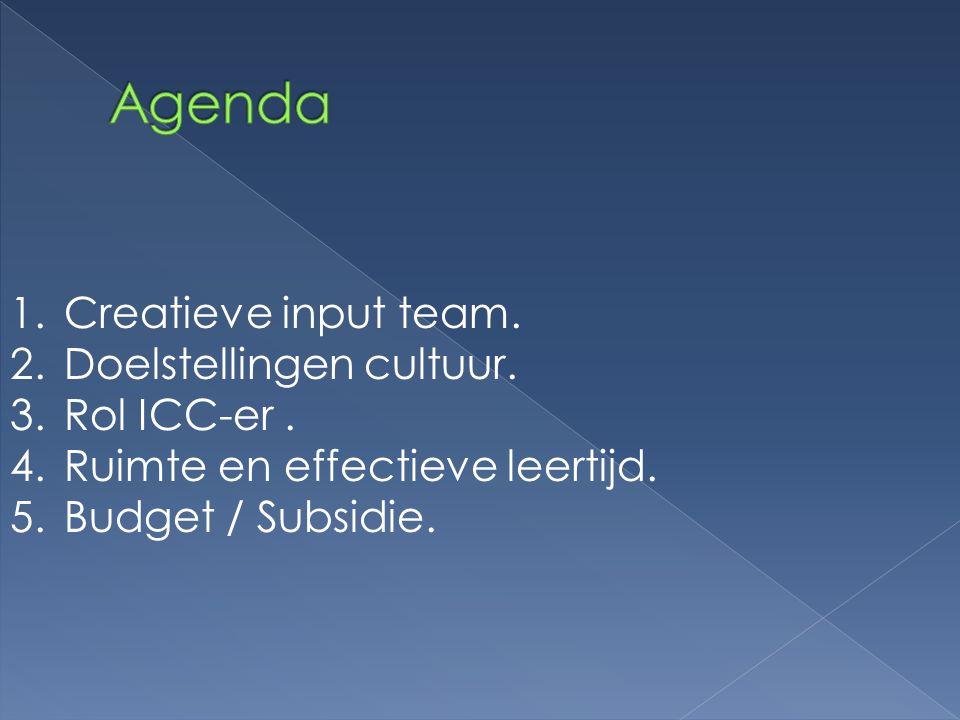 Agenda Creatieve input team. Doelstellingen cultuur. Rol ICC-er .