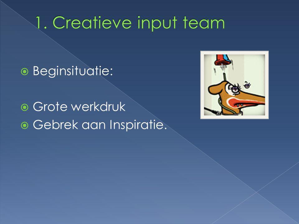 1. Creatieve input team Beginsituatie: Grote werkdruk