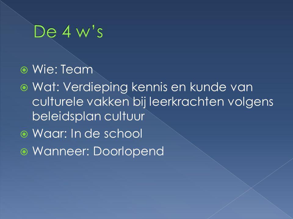 De 4 w's Wie: Team. Wat: Verdieping kennis en kunde van culturele vakken bij leerkrachten volgens beleidsplan cultuur.