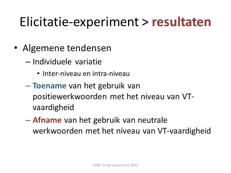 Elicitatie-experiment > resultaten