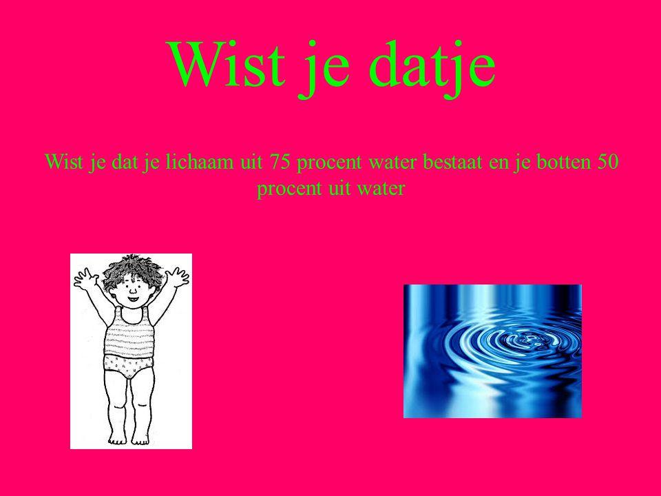 Wist je datje Wist je dat je lichaam uit 75 procent water bestaat en je botten 50 procent uit water