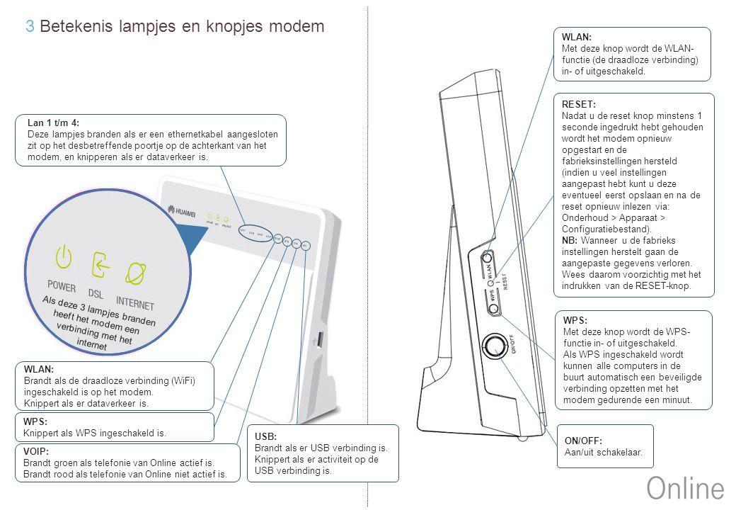 3 Betekenis lampjes en knopjes modem