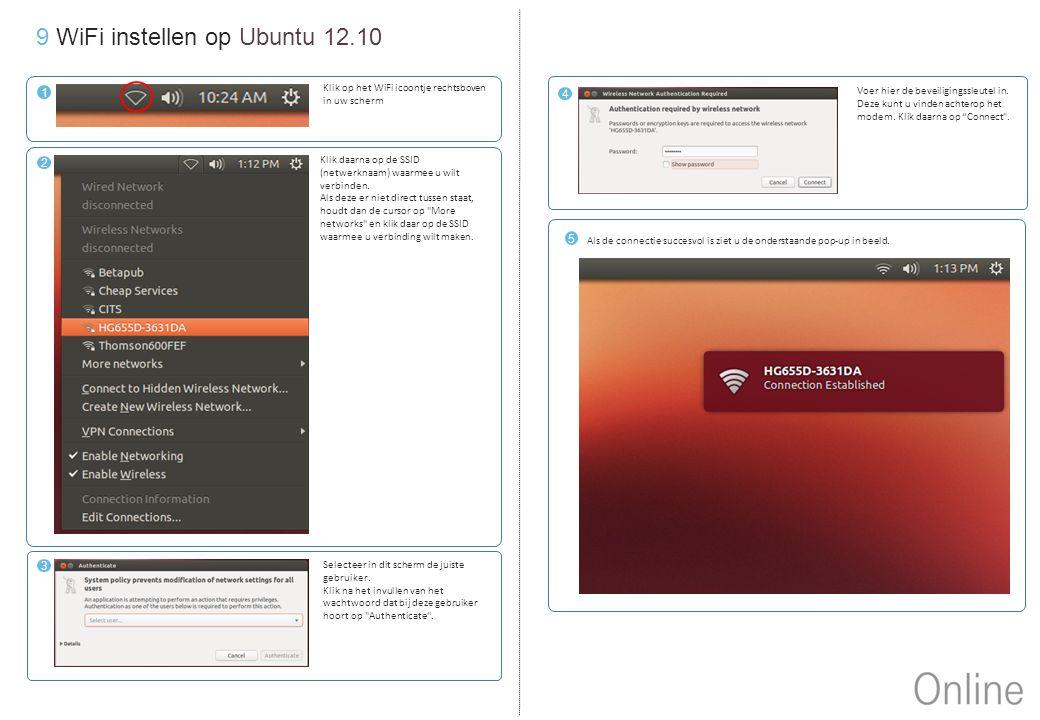 9 WiFi instellen op Ubuntu 12.10