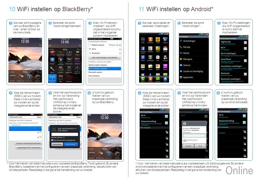 10 WiFi instellen op BlackBerry* 11 WiFi instellen op Android*
