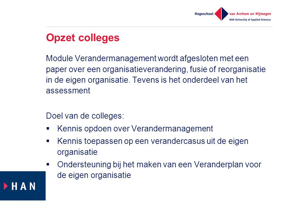 Opzet colleges