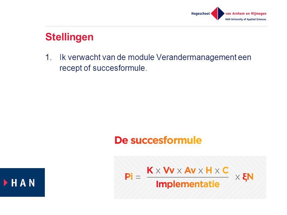 Stellingen Ik verwacht van de module Verandermanagement een recept of succesformule.
