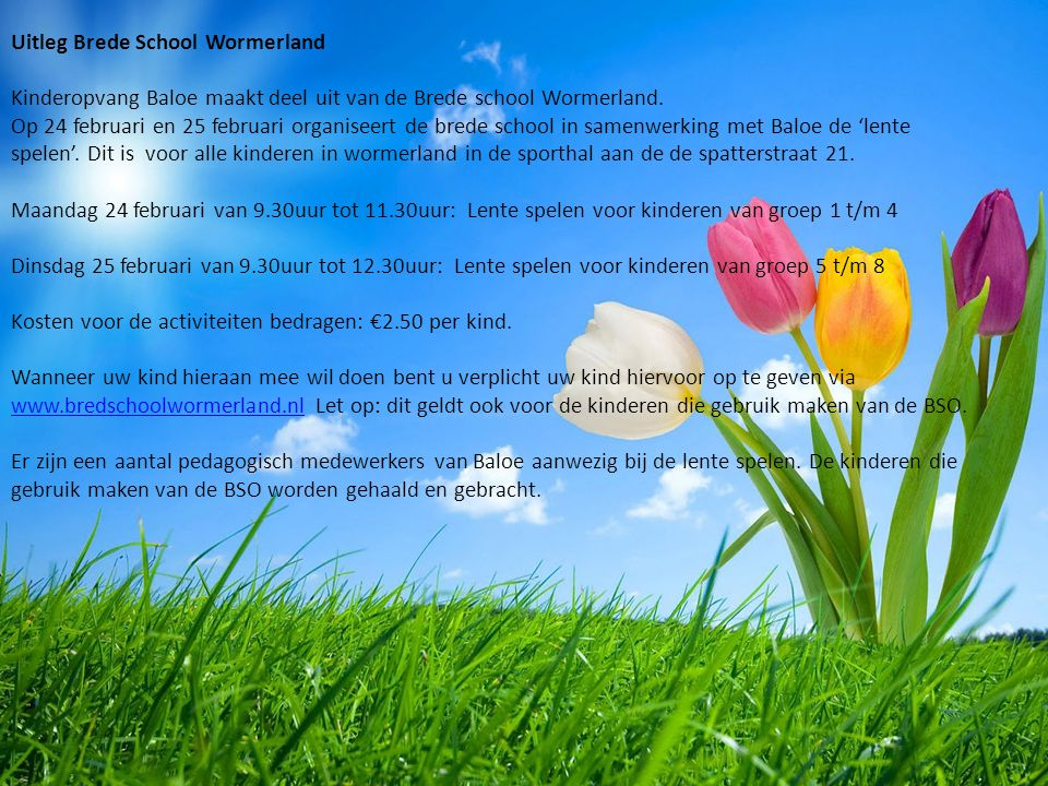 Uitleg Brede School Wormerland