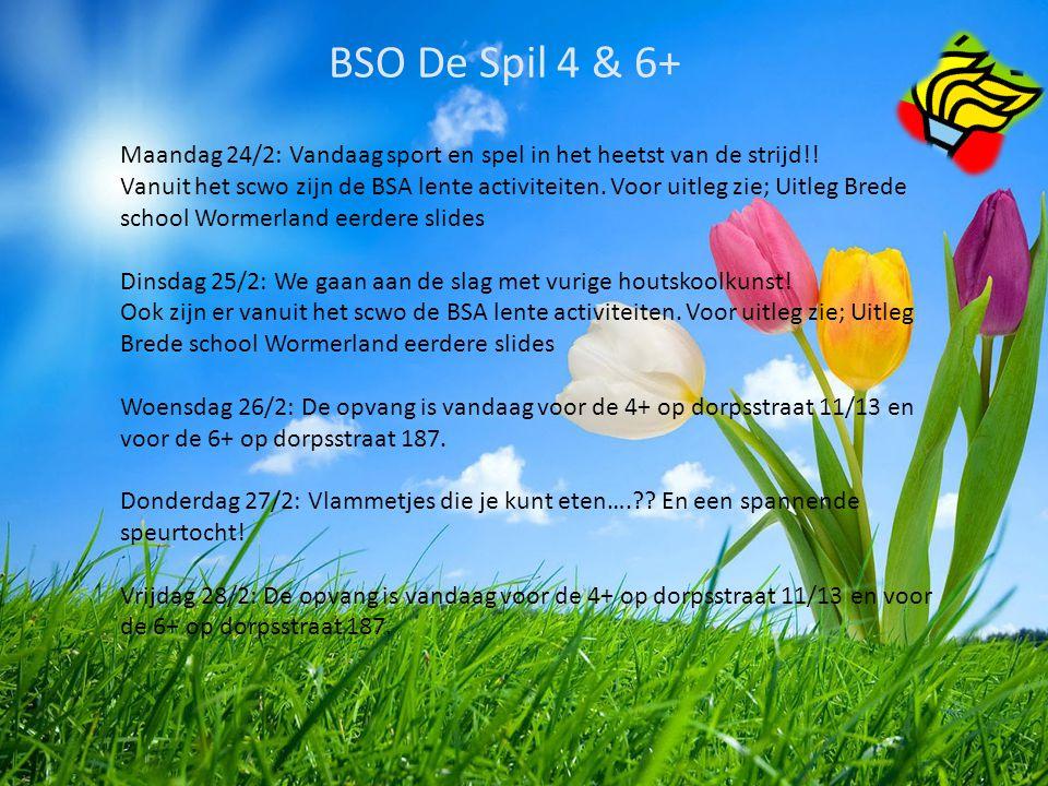 BSO De Spil 4 & 6+ Maandag 24/2: Vandaag sport en spel in het heetst van de strijd!!