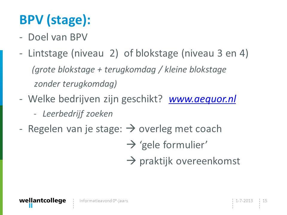 BPV (stage): Doel van BPV
