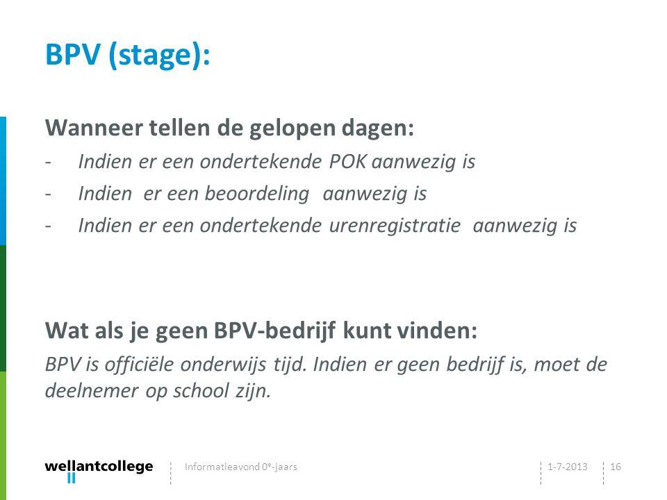 BPV (stage): Wanneer tellen de gelopen dagen: