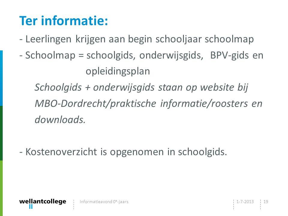 Ter informatie: Leerlingen krijgen aan begin schooljaar schoolmap