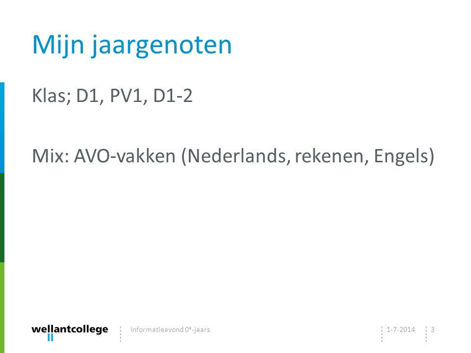 Mijn jaargenoten Klas; D1, PV1, D1-2 Mix: AVO-vakken (Nederlands, rekenen, Engels) Informatieavond 0e-jaars.