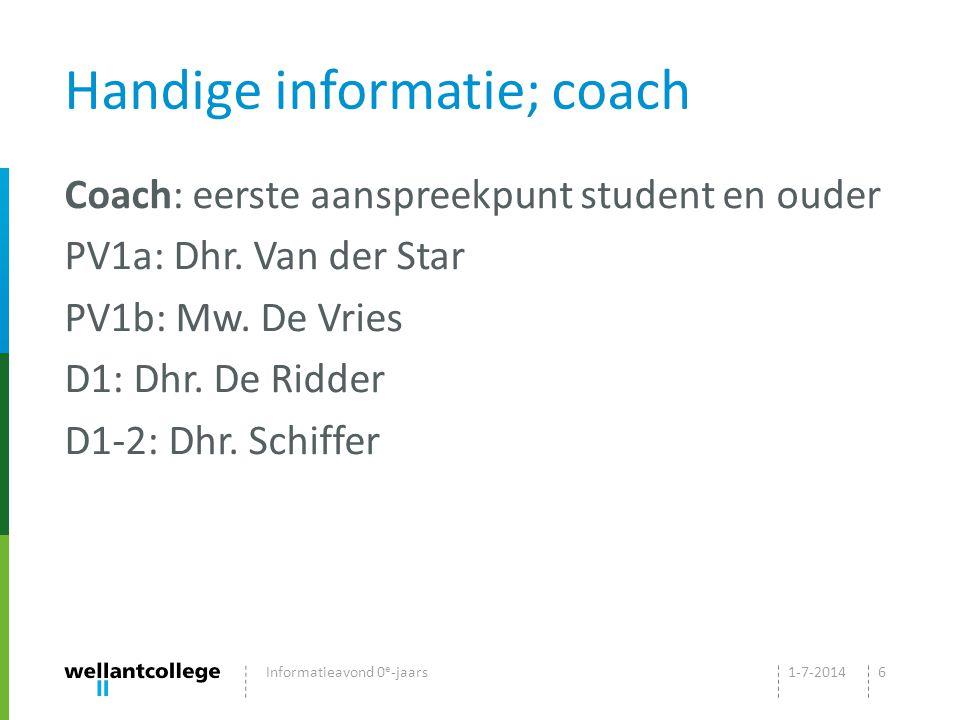 Handige informatie; coach