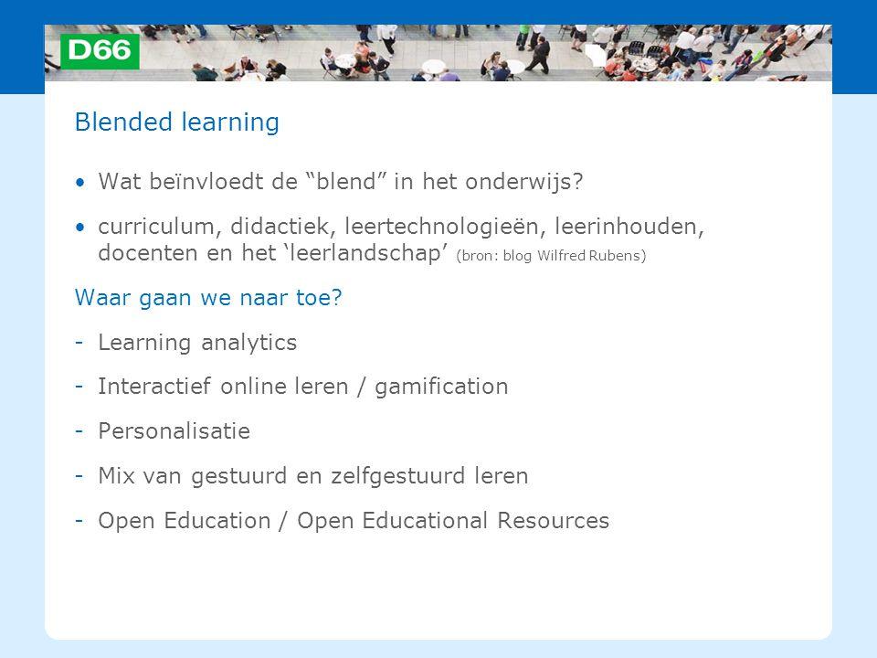Blended learning Wat beïnvloedt de blend in het onderwijs