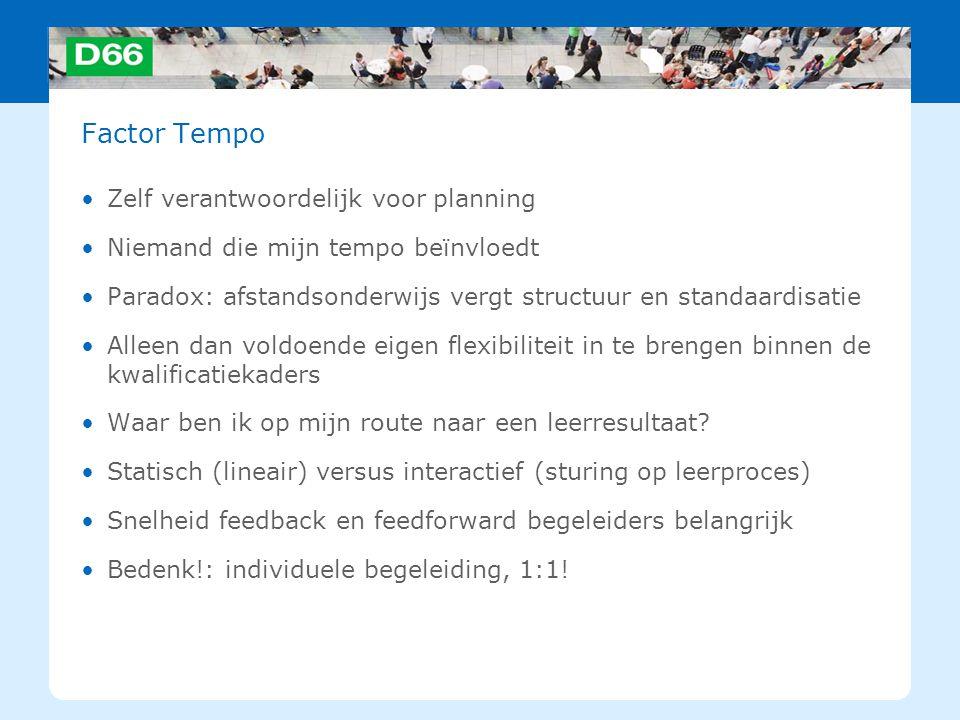 Factor Tempo Zelf verantwoordelijk voor planning