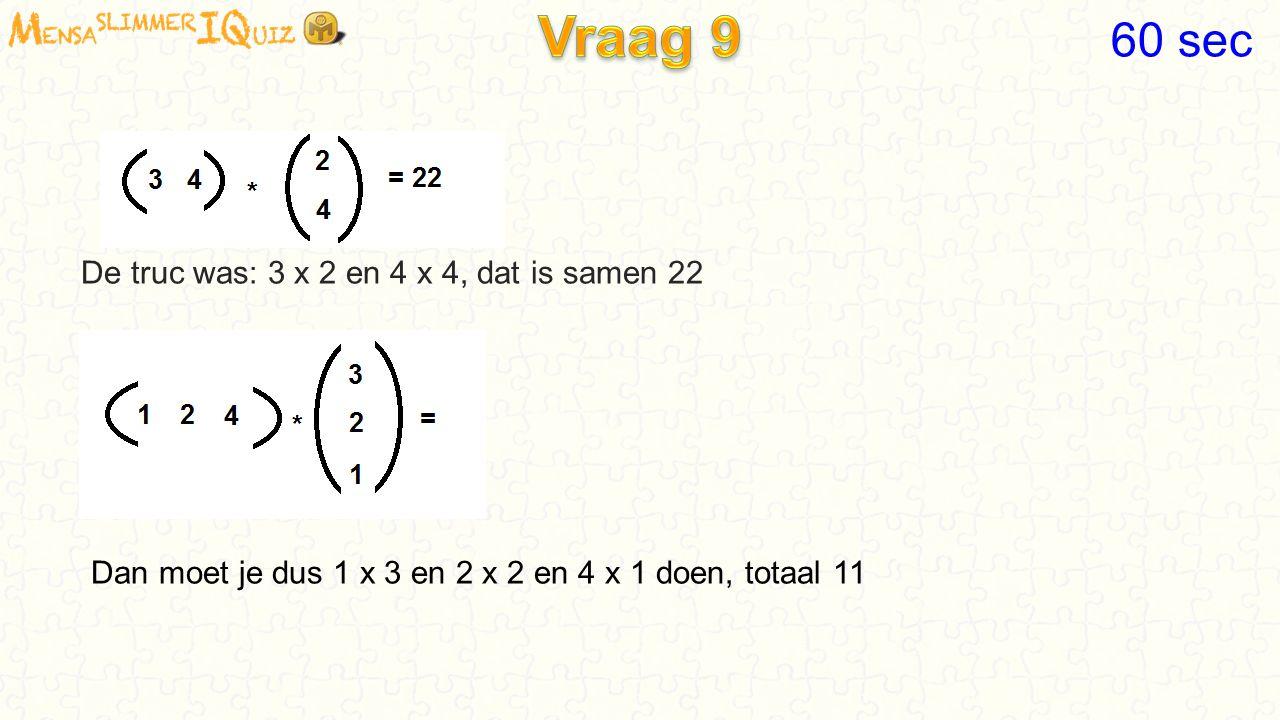 Vraag 9 60 sec De truc was: 3 x 2 en 4 x 4, dat is samen 22
