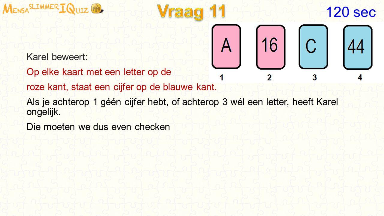 Vraag 11 120 sec Karel beweert: Op elke kaart met een letter op de